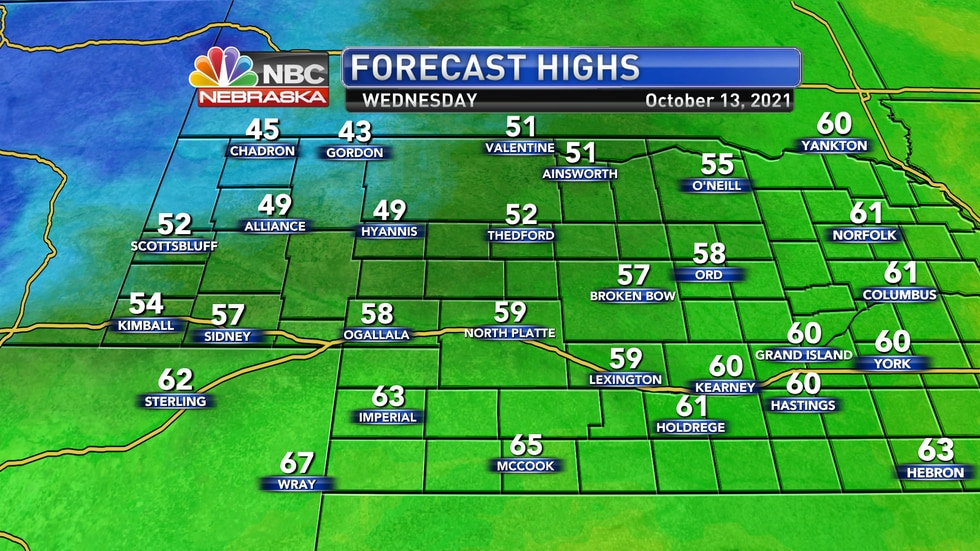 Temperatures stay quite cool on Wednesday with highs in the 40s, 50s and low 60s.