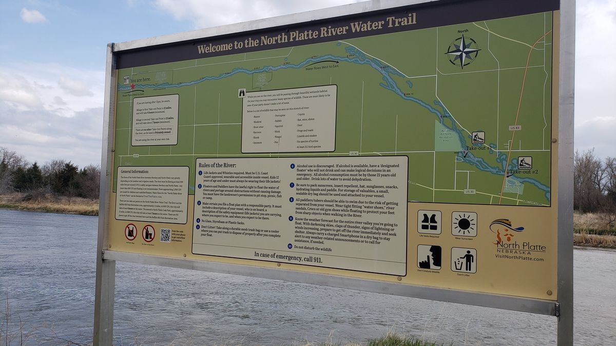 One of two water trail signs installed on the North Platte River at the North River Wildlife...