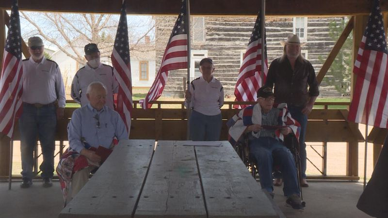 Glenn Peterson and Gene Mitchem were awarded quilts of valor in a ceremony at the Lincoln...