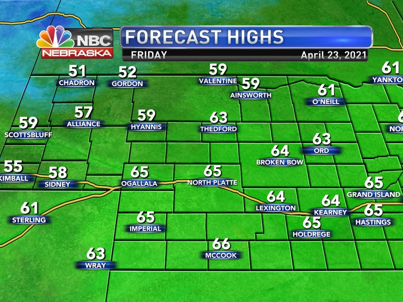 Temperatures will be warmer and more seasonal on Friday with highs for most of western Nebraska...