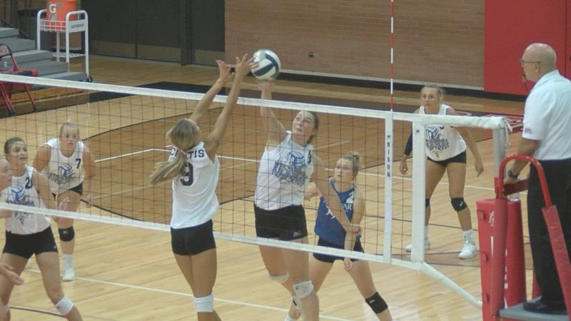 The West Team's MVP gets up for a block during the West Nebraska All Star Game.