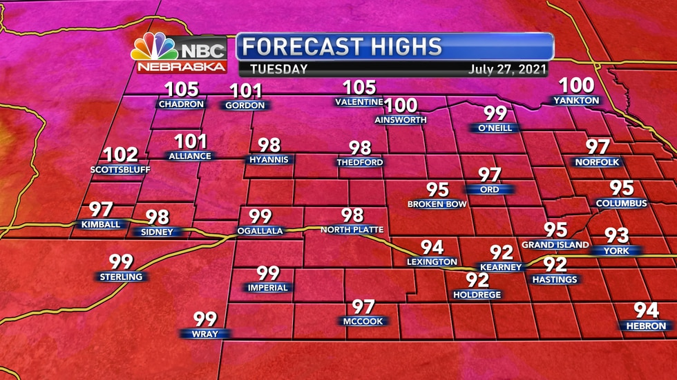 Afternoon highs on Tuesday should reach into he mid and upper 90s with some lower 100s possible...