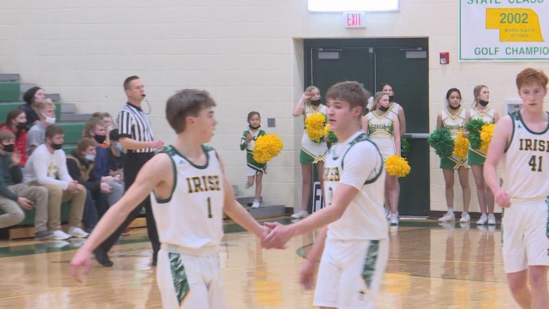 The two seniors celebrate during St. Pat's win over Dundy County Stratton.