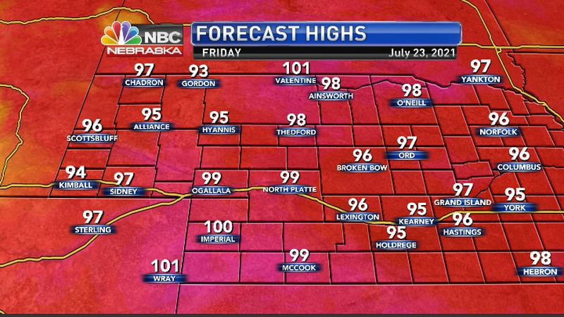 Hottest temps look to be in the from McCook to Imperual to Valentine, with mid 90s either side...