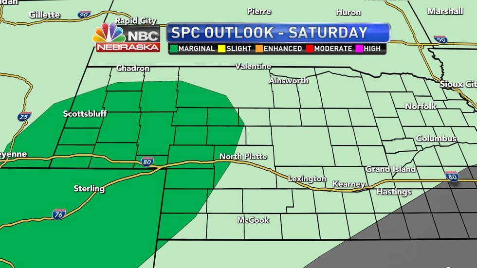 Isolated severe storms are possible Saturday afternoon and evening across the High Plains.