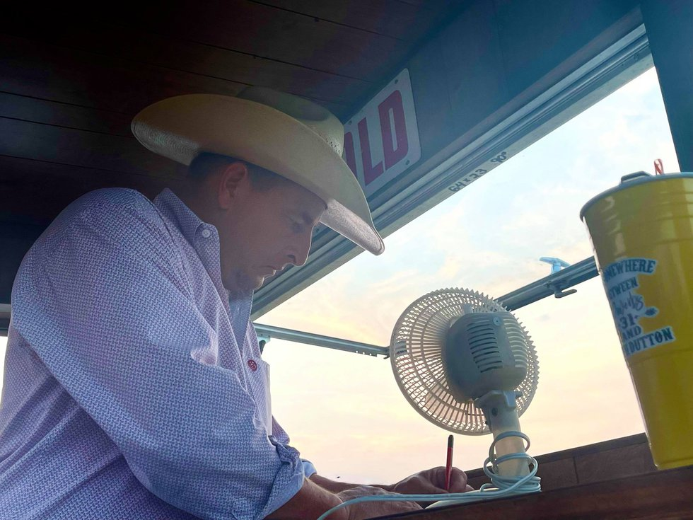 Thad McDermott, Auctioneer, McDermott Auction Service - announcing at 1st Annual Ranch Rodeo in...