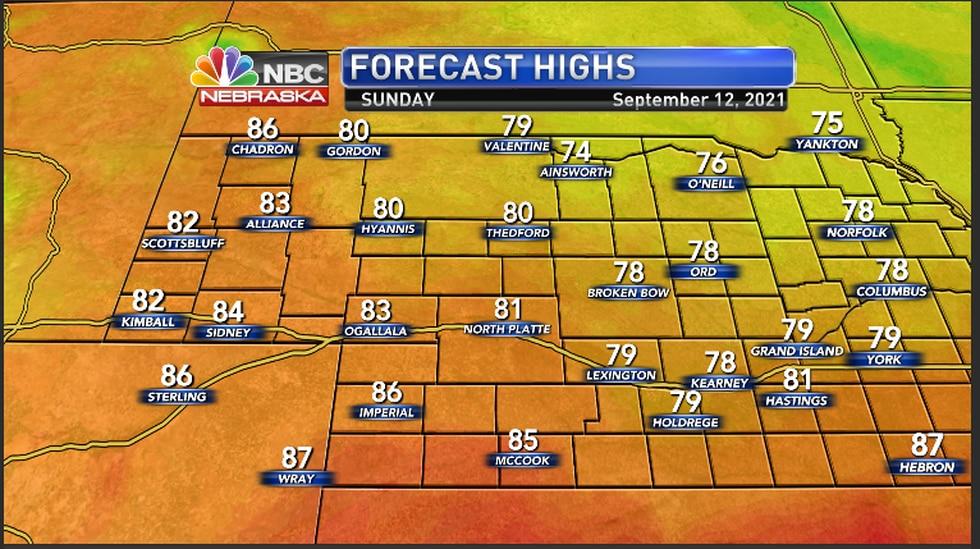 More seasonal temperaures in the area Sunday