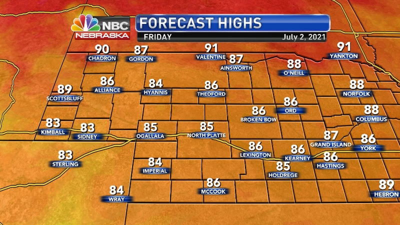 Still mild below normal temps, but the far north may see some 90s.