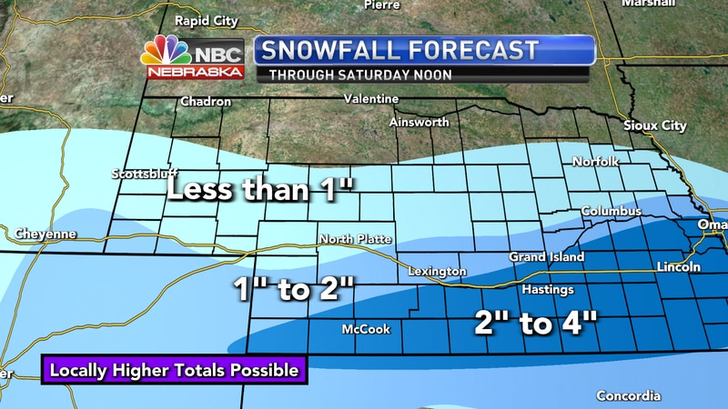 Areas of light snow are expected through Friday morning and into the afternoon across western...