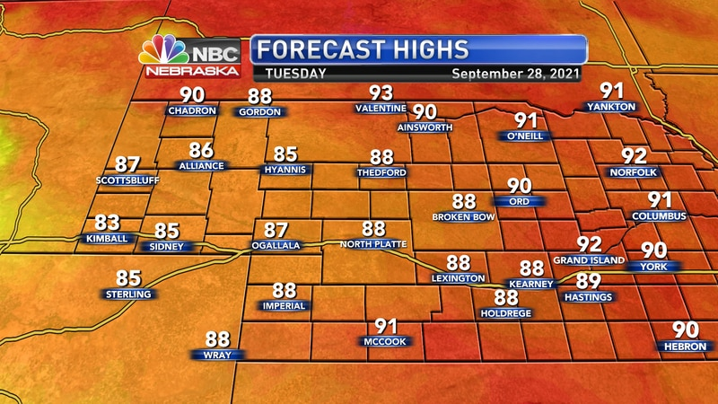 Temperatures will be a few degrees cooler on Tuesday with some added cloud cover, but...