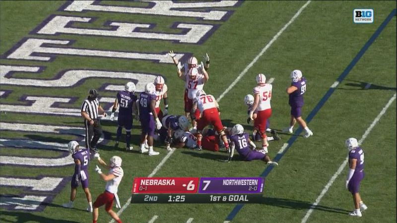 The Huskers celebrate a go ahead touchdown at the end of the 1st half.