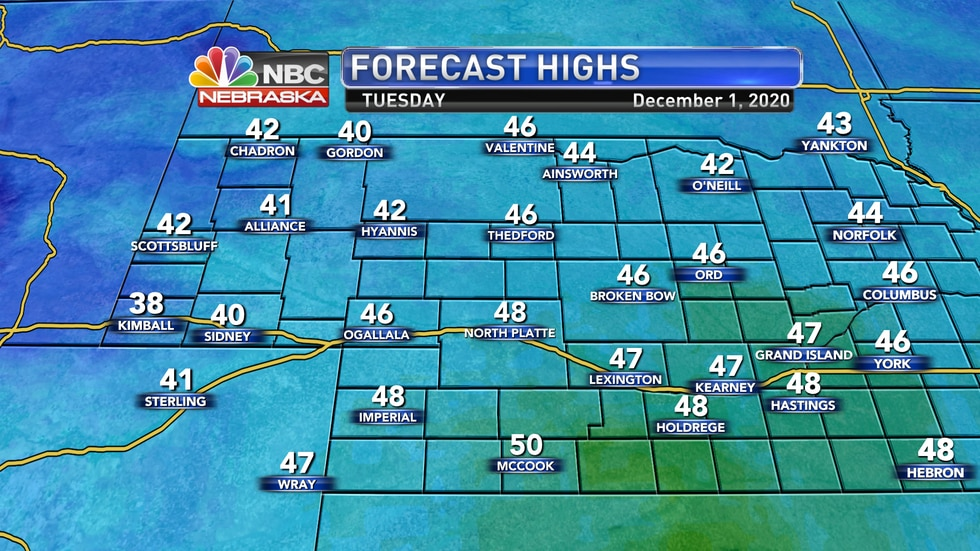 We should start off meteorological winter with fall-like temperatures in the mid to upper 40s...