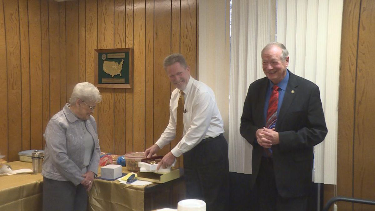 Laughs are shared as Doug Stack and Sondra Bond celebrate retiring.
