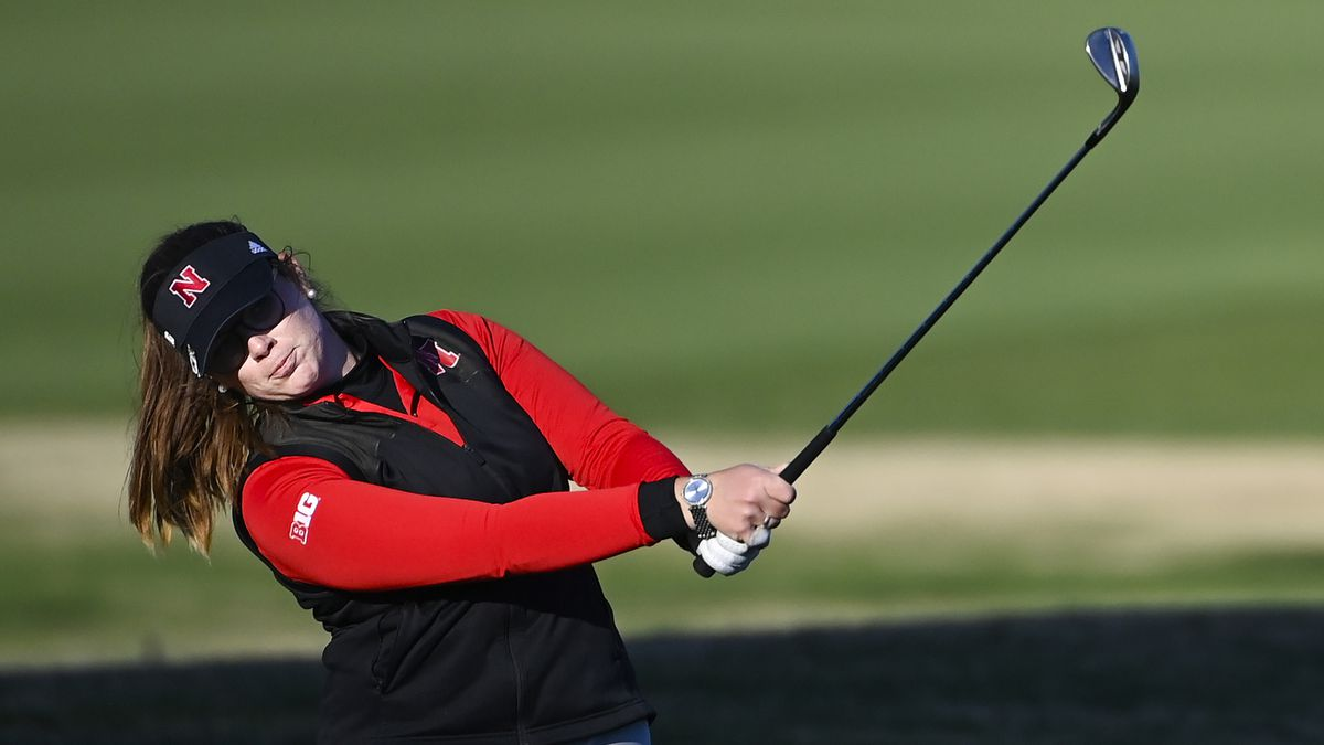 Katherine Smith of the United States plays her third stroke on the No. 18 hole during Round 2...