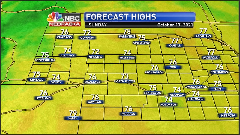Seasonable and warmer temperatures for the region Sunday