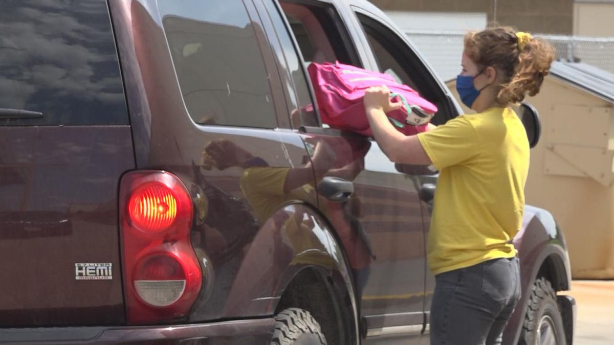 A back to school mobile school supply drive thru was held at the North Platte High School Tuesday.