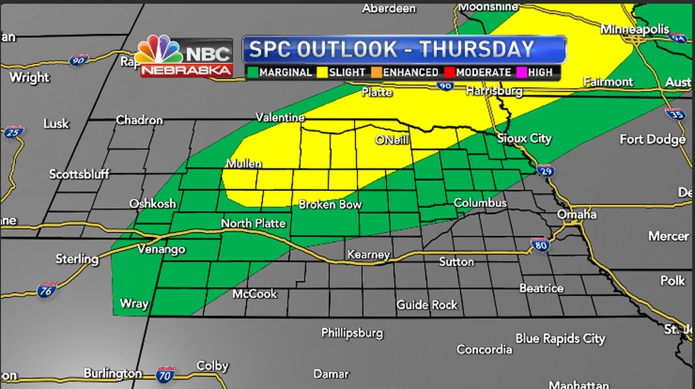 An outside chance of severe weather Thursday afternoon