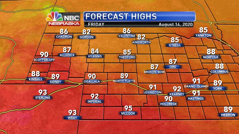 Temperatures in the low 80s to low 90s are expected to finish the week on Friday.
