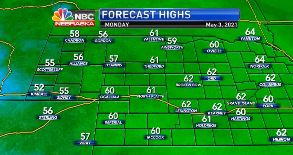 Temperatures will trend a little cooler than  what we saw last week.