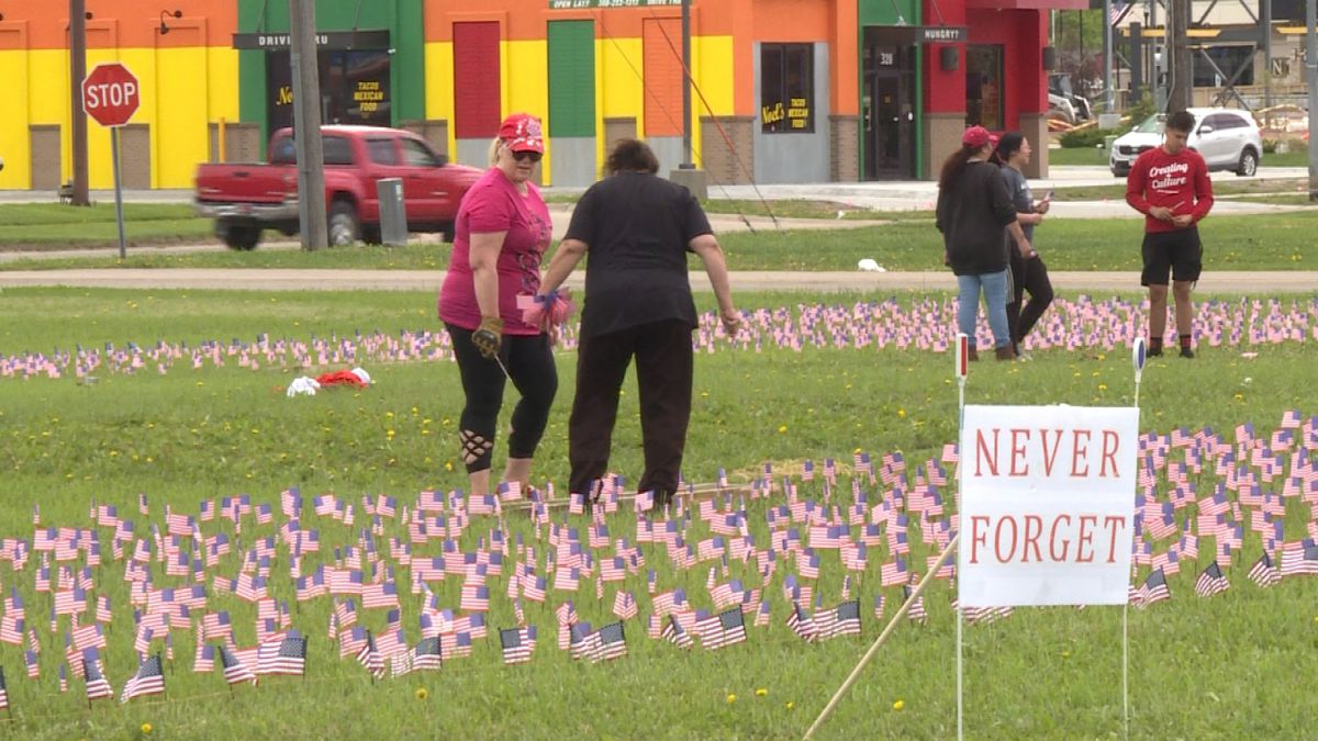 Over 12,000 American Flags are being planted on a grass area on the south side of Platte River Mall to honor those who have served. (Credit:Sam Pirozzi/KNOP-TV)