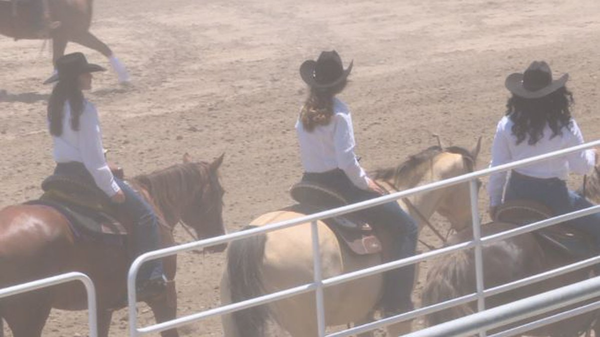 Teenage girls compete in the Queens competition for the Nebraska High School Finals Rodeo at...