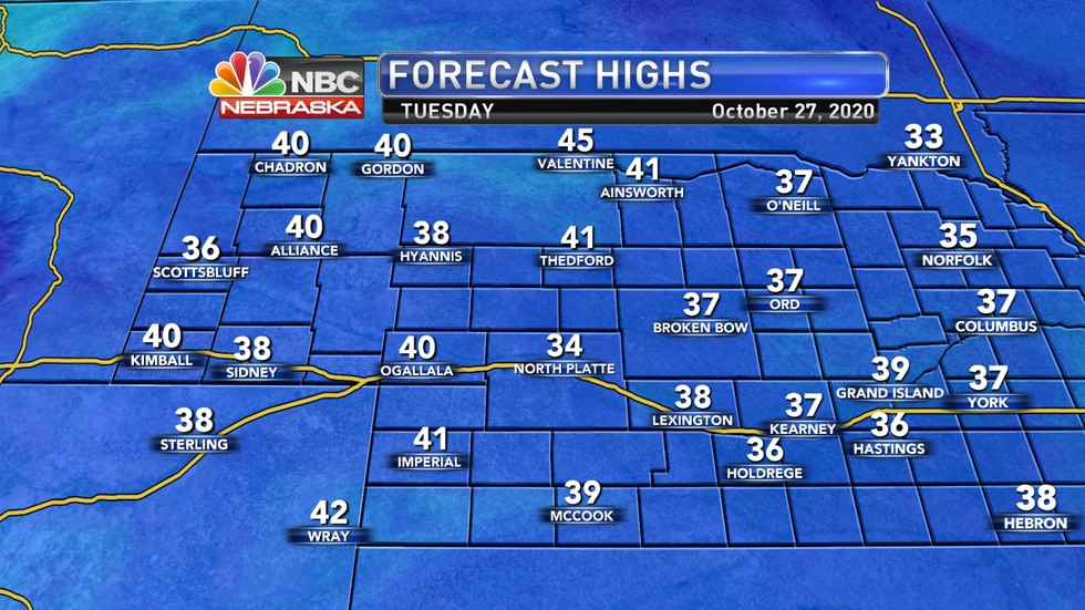 Chilly temperatures are expected by Tuesday afternoon with highs in the 30s to low 40s with...
