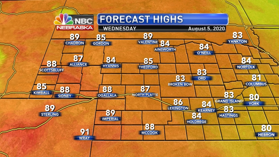 Warmer weather is expected on Wednesday with temperatures returning to mid and upper 80s.