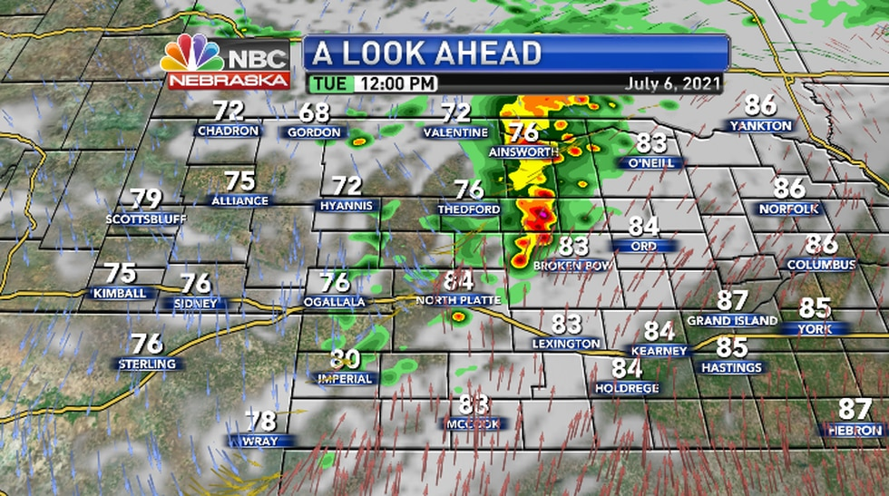 Thunderstorms will accompany a passing front that will bring cooler temperatures for a couple...
