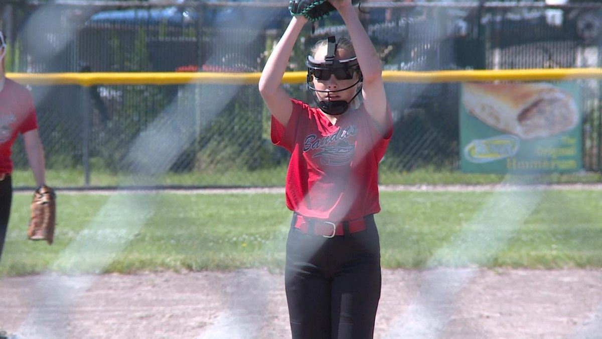 Tayler Evans, of the North Platte Bandits 12u team, pitches in the 46th annual Gail Wicks Memorial softball tournament (Credit: Patrick Johnstone/KNOP-TV)