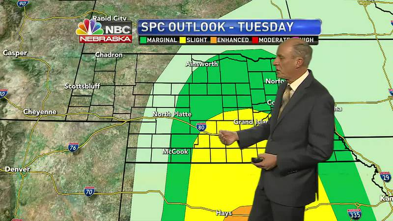 Breezy weather with strong to severe storms possible on Tuesday.