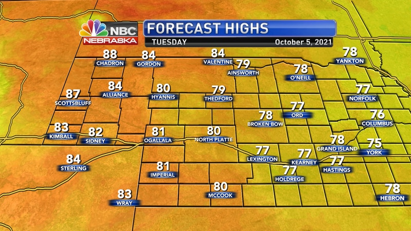 Temperatures return to the lower and middle 80s on Tuesday afternoon.