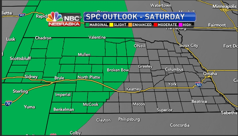 Storm Prediction Center outlook for Saturday