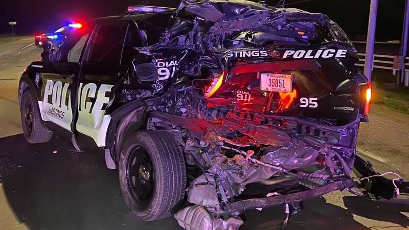 A Hastings Police vehicle was damaged after a truck hit it early Saturday morning. The driver...