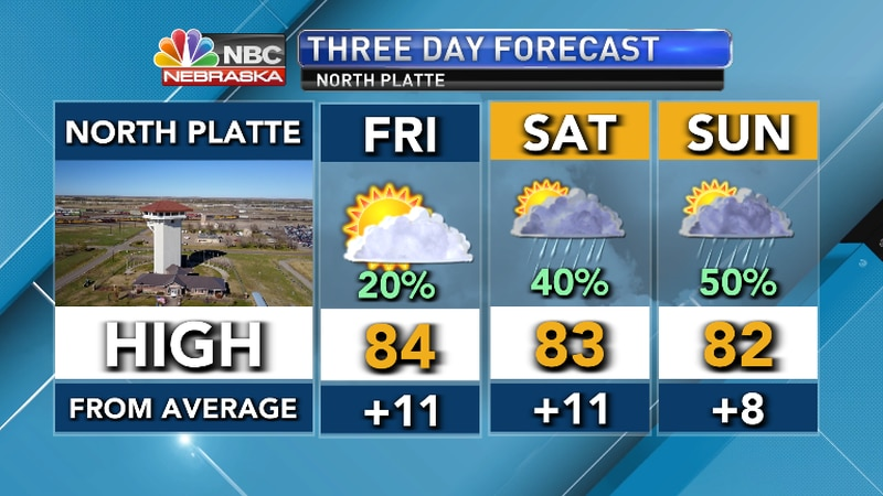 Warm, breezing with increasing chances for periodic showers and thunderstorms this weekend