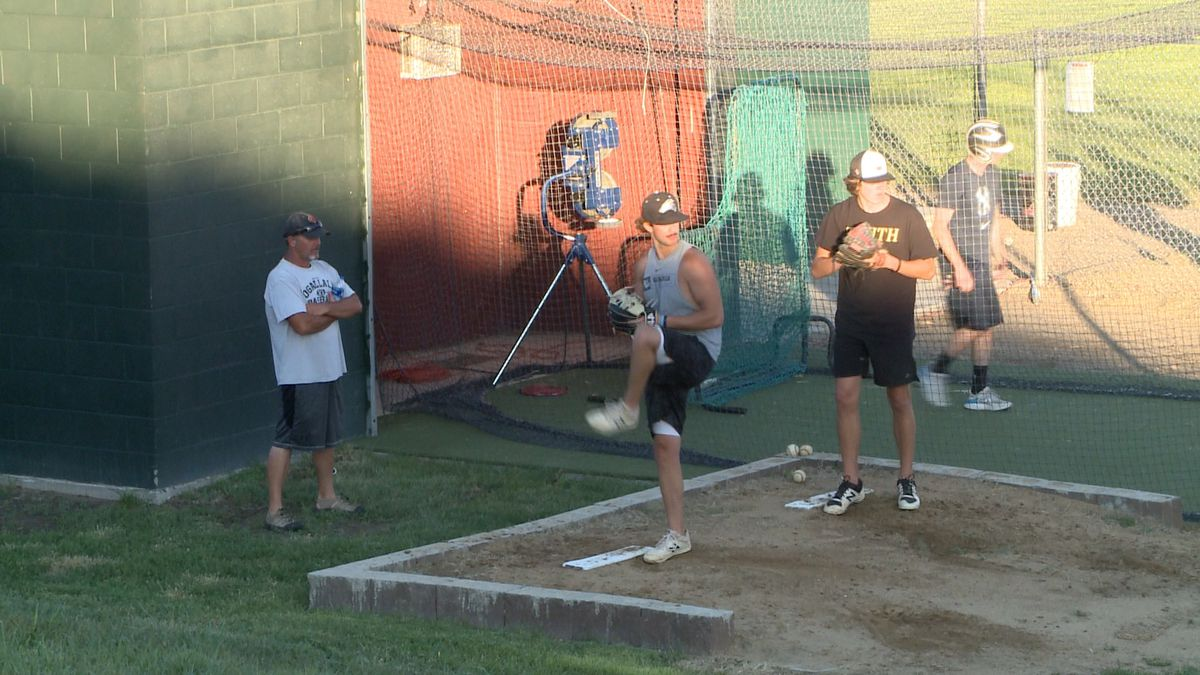 The Ogallala Adams Bank and Trust senior baseball team has 12 players on its roster, but three of them have experience playing college baseball. (Credit: Patrick Johnstone/KNOP-TV)