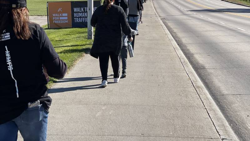 Dozens gathered in Kearney on Saturday for the global Walk for Freedom event to end human...