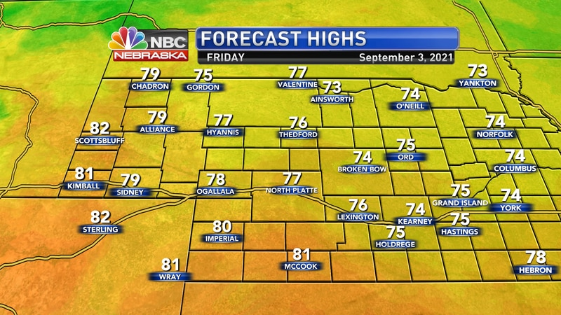 Temperatures should mainly be in the 70s by Saturday afternoon.