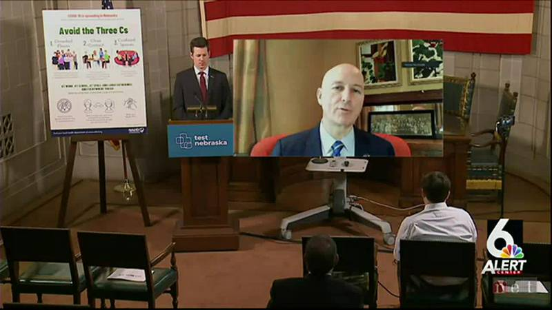 Nebraska Gov. Pete Ricketts attended Monday's COVID-19 update remotely because he was isolating...