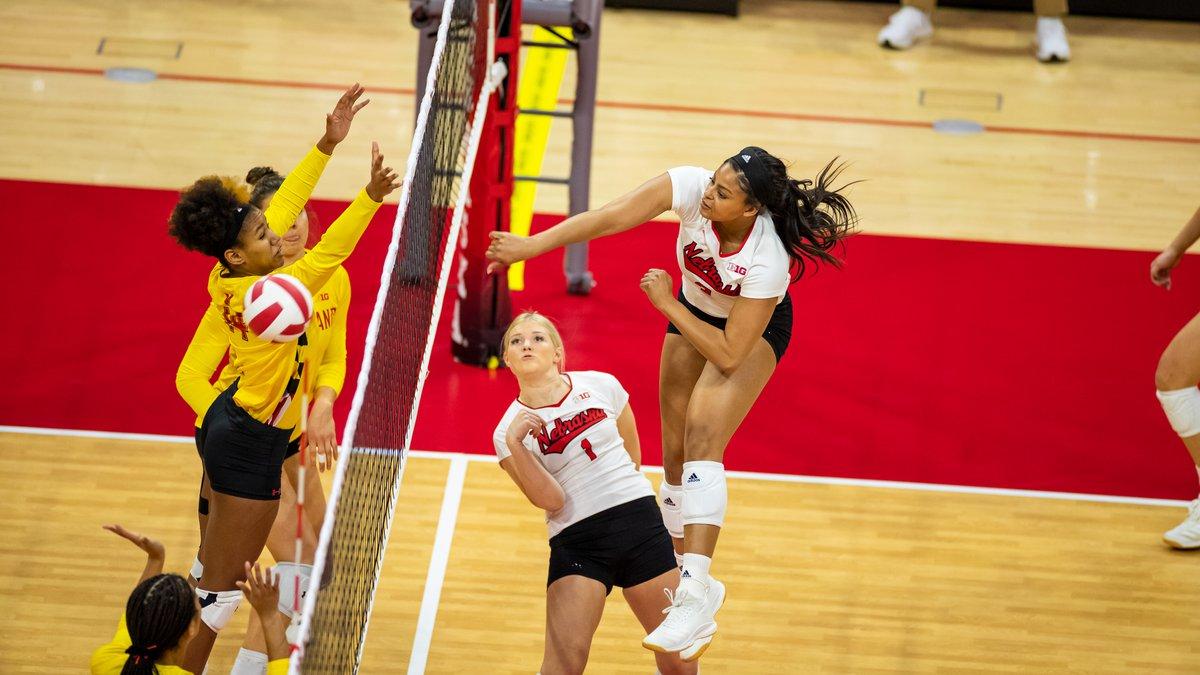 Nebraska middle blocker Kayla Caffey #3VB vs Maryland-Match 1