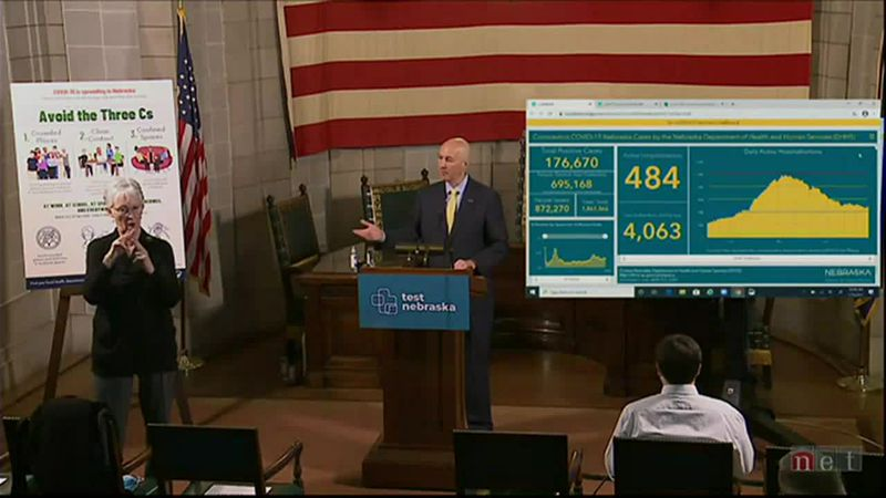 Nebraska Gov. Pete Ricketts holds a news conference Tuesday morning, Jan. 12, 2021.