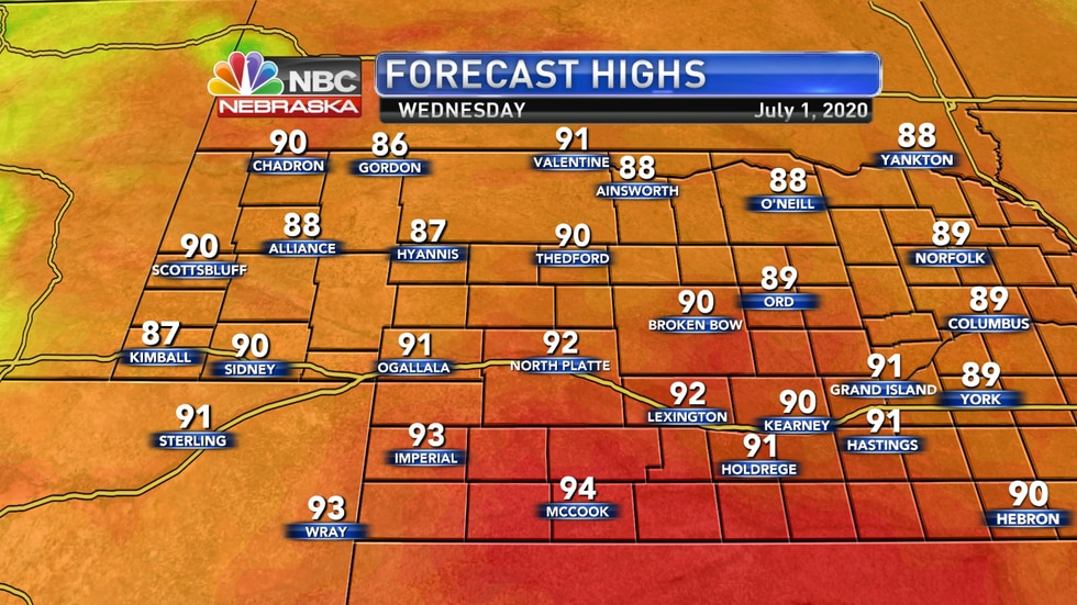 Highs stay in the upper 80s to low 90s on Wednesday with sunny skies and much more comfortable dew points.