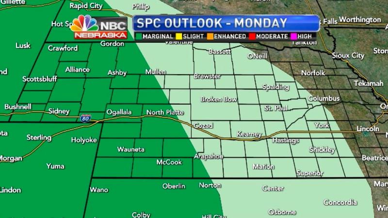 A Marginal risk for storms on Monday across western Nebraska.