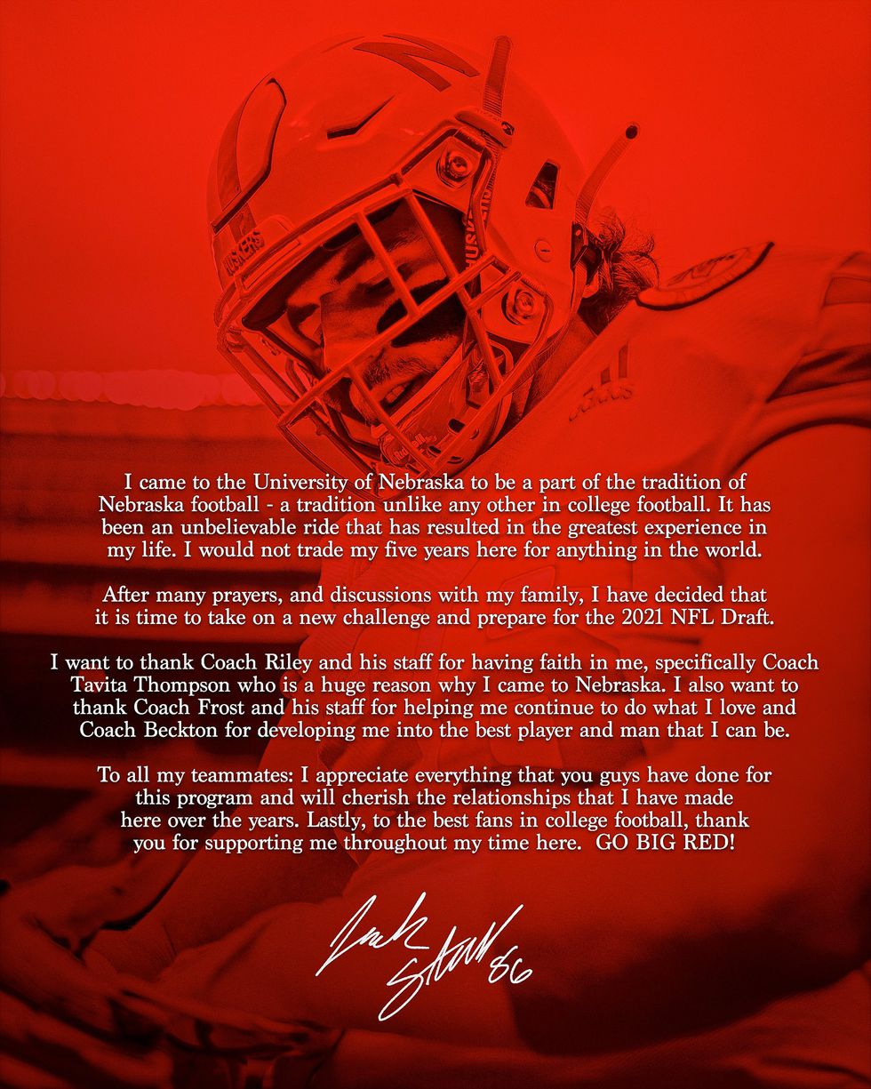 Husker Jack Stoll announced his departure from the Nebraska football team on Monday.