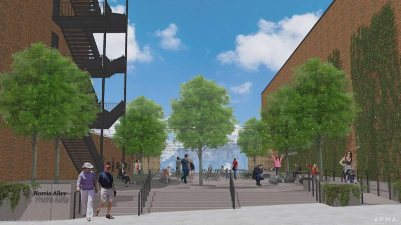 The downtown plaza will be used for outdoor gatherings, concerts and honor the legacy of late...