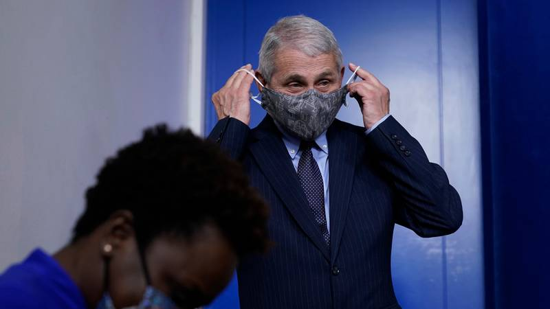 Dr. Anthony Fauci, director of the National Institute of Allergy and Infectious Diseases, puts...