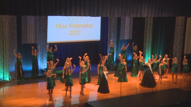 Contestants in the 2021 Miss Nebraska Competition performing their opening number.