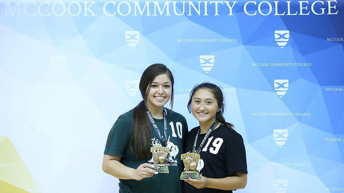 Ogallala's Madison Mendoza (left) and Lexington's Jennifer Nava (right) were named the West and East MVPs at the All-Star Volleyball Classic hosted by McCook Community College (Credit: MPCC Atlhetics)