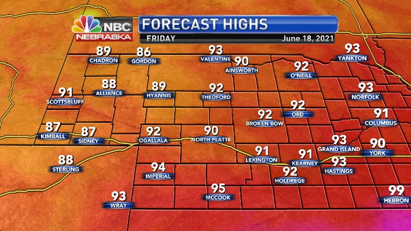 Improving weather on Friday as a cool front saves from further 100 degree heat..