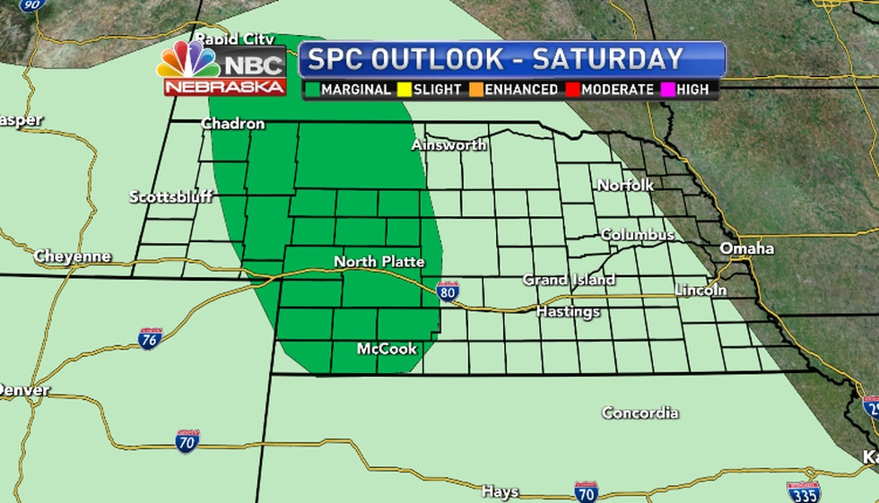 A  storm or two over Western Nebraska in the afternoon and evening could produce large hail and...