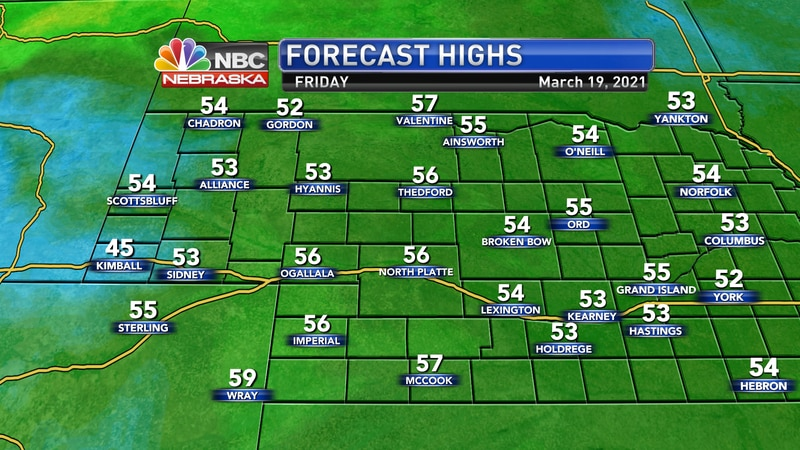 Temperatures should jump back to the mid 50s on Friday with strong south winds across the area.